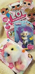 Lot Of 3 Lol Surprise Dolls Pomsies Plush Interactive Pet And Fingerling All New