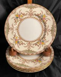 Vintage Set Of 4 Minton Chatham Green Ivory Bread And Butter Plates