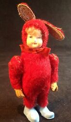 Antique German Mohair Bunny Rabbit Girl Candy Container