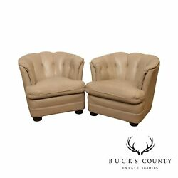 Hancock And Moore Vintage Pair Tufted Club Chairs