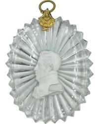 Rare Antique Baccarat Crystal Cameo Sulphide Portrait Medallion King Charles X