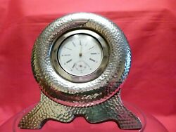 Lovely Large Arts And Crafts 1905 Solid Silver Plannished Desk Clock.working.