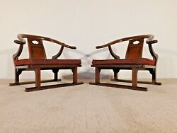 Pair Baker Furniture Company Michael Taylor Far East Collection Low Arm Chairs