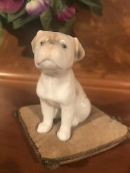 Early VINTAGE Antique Estate CERAMIC BULLDOG SITTING ON A PILLOW English French