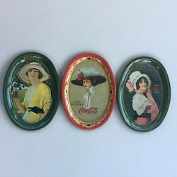 Lot 3 Vintage 1973 Oval Coca Cola Lady Tin Tip Tray 1914 Small 6.2 X 4.4