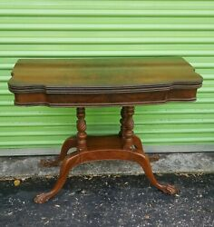 Vintage Burled Walnut Lift Top Game Table. Clawfoot Carved Base.