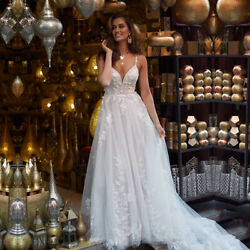 New Summer Beach Wedding Dress Spaghetti Straps Backless Lace Tulle Bridal Gown $174.70