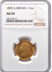 United Kingdom Sovereign 1895-london Mint - Queen Victoria - Ngc Au50 Luster