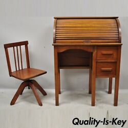 Vintage Children's Sz Child's Roll Top Writing Desk And School Chairs - A Set