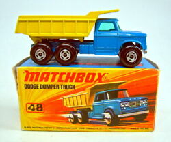 Matchbox Superfast No. 48a Dodge Dumper Blue And Yellow In Very Rare J Box