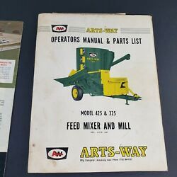 Arts Way 325 425 Feed Mixer And Mill Grinder Operatorand039s Manual And Advertising Lot