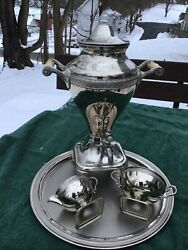 Vintage Manning Bowman And Co Metalware Coffee Electric Percolator/urn Serving Set