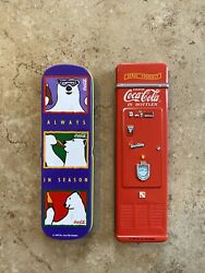 2 - Vintage Coca-cola Ball Point Pens In Tin Cases 1995 And 1997.
