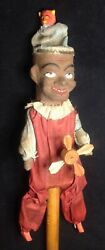 Antique German Mechanical Paper Mache Clown Toy With Pop Up Devil