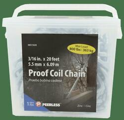 Peerless Chain 3/16 Proof Coil Chain 20and039 4851020