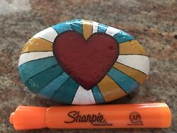 """Hand Painted Rock """"Love Heart"""""""