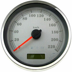 Stock Repl. 5 Electronic Speedometer White Face/220 Km/h 2004-13 Harleys