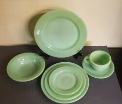 7 Fire King Jadeite Restaurant Thick Dishes Rare 8 Plate Included