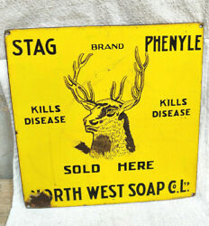 1920s Vintage North West Soap Co Stag Brand Phenyle Advertising Enamel Sign Rare