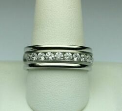 1.00 Ct Natural Diamond Mens Engagement Band 18k Solid White Gold Ring Size 10