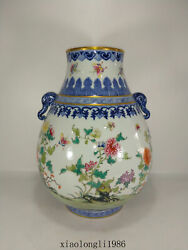 China Antique Qing Dynasty Qianlong Blue And White Butterfly Floral Pattern Vase