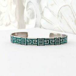 Mexico Sterling Silver 925 Stack Layer Modern Turquoise Aztec Inca Cuff Bracelet