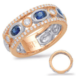 1.04ct Diamond And Aaa Sapphire 14kt Rose And White Gold Filigree Anniversary Ring