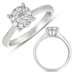 Estate .49ct Diamond 14kt White Gold 3d Cluster Flower Invisible Engagement Ring