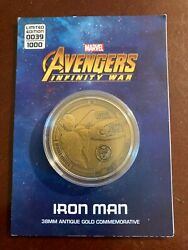 Marvel Avengers Antique Gold Commemorative Coin Iron Man 39 And 80 Out Of 1000