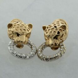 14k Yellow And White Gold Leopard Door Knocker Earrings Circa 1990