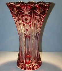Caesar Crystal Red Vase Blown Cut To Clear Overlay Czech Bohemia Cased 10 In