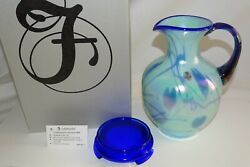 Fenton Art Glass Pitcher Base Willow Green Blue Hanging Hearts Fetty Le 8800 Gf