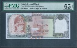 Nepal 1000 Rupees P44 Nd2000 Pmg 65 Epq Gem Unc Serial Number One