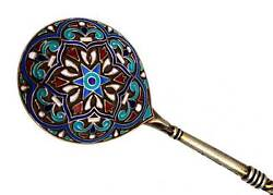 Rare Russian Imperial Silver Cloisonne Spoon Kf