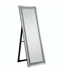 New Acme Noralie Accent Mirror Wall / Floor - 97156 - Mirrored And Faux Diamonds