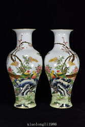 15.6a Pair China Antique Qing Dynasty Yongzheng Flower And Bird Pattern Vase
