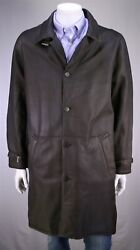 Seraphin Recent Brown Leather Mouton Shearling 3/4 Length Coat Fr 56 - Us 46