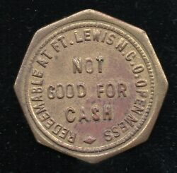 Vintage Wwii Fort Lewis Wa 5c In Trade Token N.c.o. Open Mess