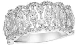 Wide .85ct Diamond 14kt White Gold Round And Marquise Shape Double Wave Fun Ring
