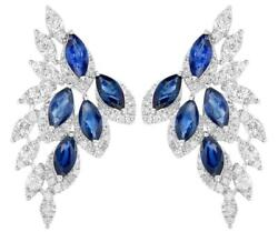 3.70ct Diamond And Aaa Sapphire 14kt White Gold Round And Marquise Hanging Earrings