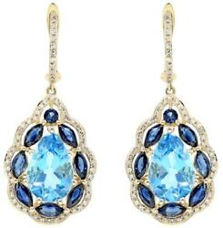 9.51ct Diamond And Aaa Blue Topaz And Aaa Sapphire 14kt Yellow Gold Hanging Earrings
