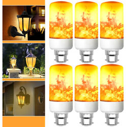 1-6pack Led Flame Effect Fire Light Bulb B22 Simulated Nature Flicker Lamp Decor