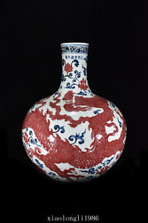 17.2china Antique Ming Dynasty Firewood Kiln Blue And White Dragon Pattern Vase