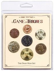 Game Of Thrones Dead Man Set Of 6 Coins + Iron Coin Of Faceless Man - New