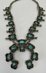 Vintage Navajo Flower Sterling Silver And Turquoise Squash Blossom Necklace