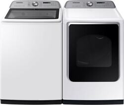Samsung Wa54r7600aw Washer And Dve54r7600w Electric Dryer Side-by-side White Set