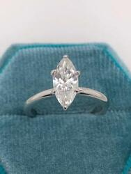 Real Genuine Diamond Engagement Ring 1.00 Ct Marquise 14k White Gold D/vs1