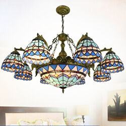Style Chandelier Lamp Vintage Handcrafted Stained Glass Pendant Light
