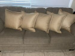 Pottery Barn Cover Linens Woven Brown Jute Braided Trim W/ Feather Down Inserts