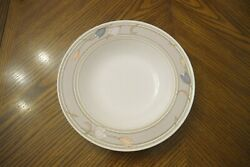 New Mikasa Intaglio Meadow Sun Cac02 Large Rimmed Soup Bowls 9 3/8